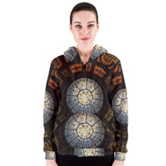 Black And Borwn Stained Glass Dome Roof Women s Zipper Hoodie