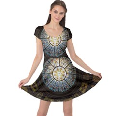 Black And Borwn Stained Glass Dome Roof Cap Sleeve Dresses