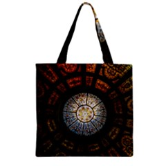 Black And Borwn Stained Glass Dome Roof Zipper Grocery Tote Bag
