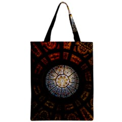 Black And Borwn Stained Glass Dome Roof Zipper Classic Tote Bag