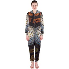 Black And Borwn Stained Glass Dome Roof Hooded Jumpsuit (ladies)