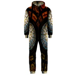 Black And Borwn Stained Glass Dome Roof Hooded Jumpsuit (men)