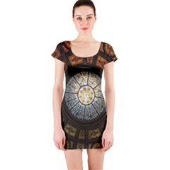 Black And Borwn Stained Glass Dome Roof Short Sleeve Bodycon Dress