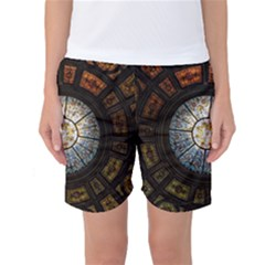 Black And Borwn Stained Glass Dome Roof Women s Basketball Shorts