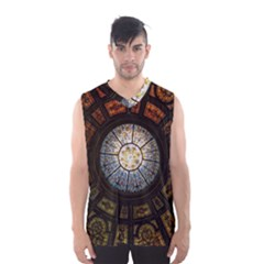 Black And Borwn Stained Glass Dome Roof Men s Basketball Tank Top