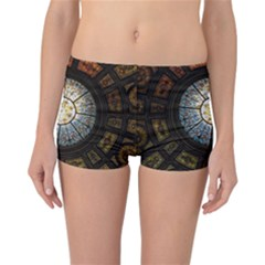 Black And Borwn Stained Glass Dome Roof Reversible Bikini Bottoms