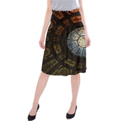 Black And Borwn Stained Glass Dome Roof Midi Beach Skirt