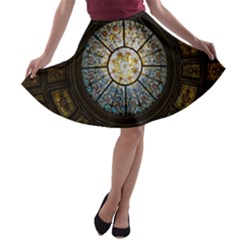 Black And Borwn Stained Glass Dome Roof A Line Skater Skirt