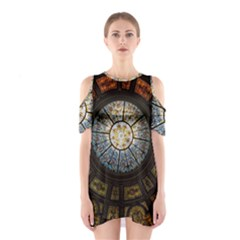 Black And Borwn Stained Glass Dome Roof Shoulder Cutout One Piece