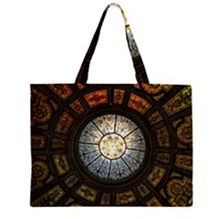 Black And Borwn Stained Glass Dome Roof Zipper Large Tote Bag