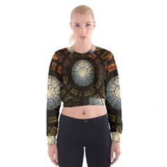Black And Borwn Stained Glass Dome Roof Women s Cropped Sweatshirt