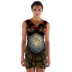 Black And Borwn Stained Glass Dome Roof Wrap Front Bodycon Dress