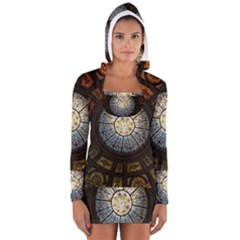 Black And Borwn Stained Glass Dome Roof Women s Long Sleeve Hooded T-shirt