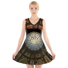 Black And Borwn Stained Glass Dome Roof V Neck Sleeveless Skater Dress