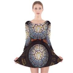 Black And Borwn Stained Glass Dome Roof Long Sleeve Velvet Skater Dress