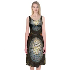 Black And Borwn Stained Glass Dome Roof Midi Sleeveless Dress