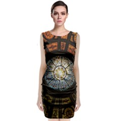 Black And Borwn Stained Glass Dome Roof Classic Sleeveless Midi Dress
