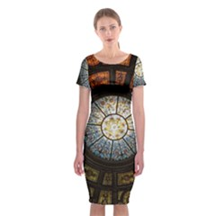 Black And Borwn Stained Glass Dome Roof Classic Short Sleeve Midi Dress