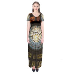 Black And Borwn Stained Glass Dome Roof Short Sleeve Maxi Dress