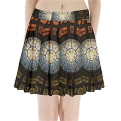 Black And Borwn Stained Glass Dome Roof Pleated Mini Skirt