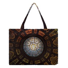 Black And Borwn Stained Glass Dome Roof Medium Tote Bag