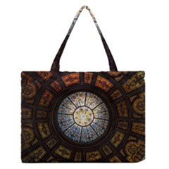 Black And Borwn Stained Glass Dome Roof Medium Zipper Tote Bag