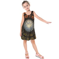 Black And Borwn Stained Glass Dome Roof Kids  Sleeveless Dress