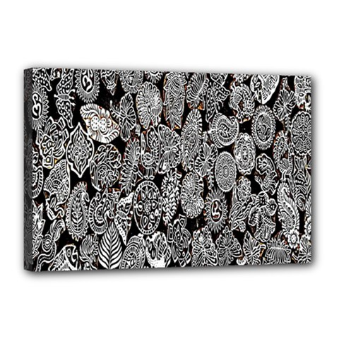 Black And White Art Pattern Historical Canvas 18  X 12