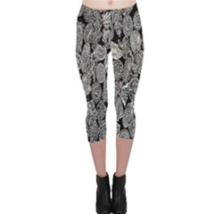 Black And White Art Pattern Historical Capri Leggings