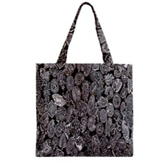 Black And White Art Pattern Historical Zipper Grocery Tote Bag