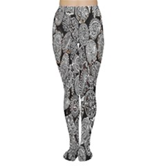 Black And White Art Pattern Historical Women s Tights