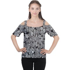 Black And White Art Pattern Historical Women s Cutout Shoulder Tee