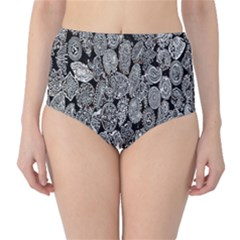 Black And White Art Pattern Historical High Waist Bikini Bottoms