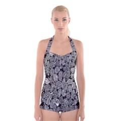Black And White Art Pattern Historical Boyleg Halter Swimsuit