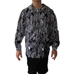 Black And White Art Pattern Historical Hooded Wind Breaker (Kids)