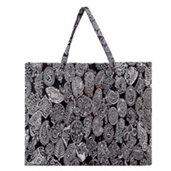 Black And White Art Pattern Historical Zipper Large Tote Bag