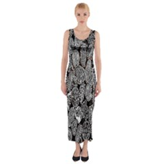 Black And White Art Pattern Historical Fitted Maxi Dress