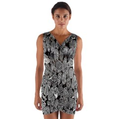 Black And White Art Pattern Historical Wrap Front Bodycon Dress