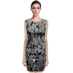 Black And White Art Pattern Historical Classic Sleeveless Midi Dress