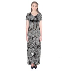 Black And White Art Pattern Historical Short Sleeve Maxi Dress