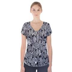 Black And White Art Pattern Historical Short Sleeve Front Detail Top