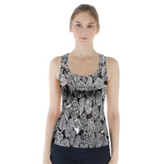 Black And White Art Pattern Historical Racer Back Sports Top
