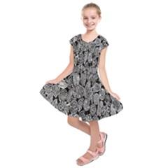 Black And White Art Pattern Historical Kids  Short Sleeve Dress
