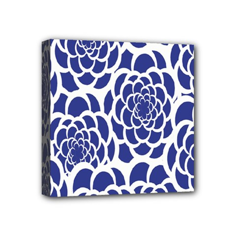 Blue And White Flower Background Mini Canvas 4  X 4