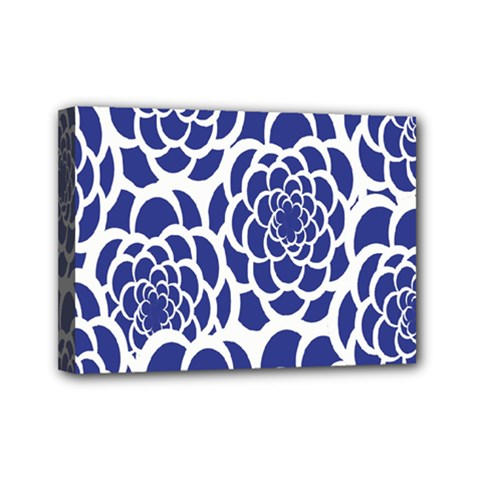 Blue And White Flower Background Mini Canvas 7  x 5