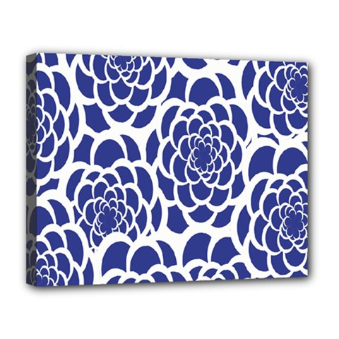 Blue And White Flower Background Canvas 14  x 11
