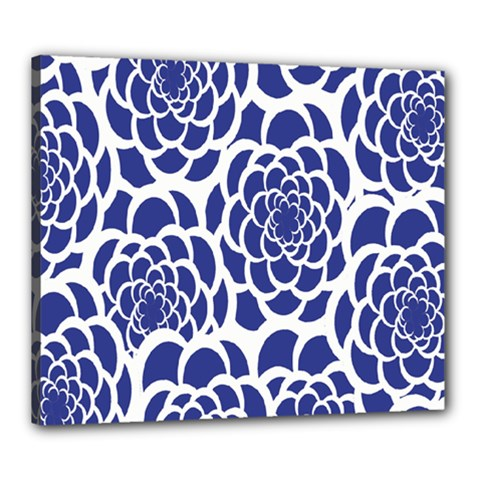 Blue And White Flower Background Canvas 24  x 20