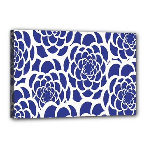Blue And White Flower Background Canvas 18  x 12