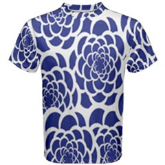 Blue And White Flower Background Men s Cotton Tee