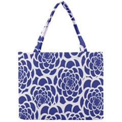Blue And White Flower Background Mini Tote Bag